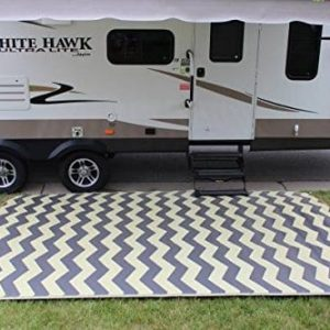 Rv Mat Patio Rug Chevron Pattern 9x12 TanCharcoal 0 300x300
