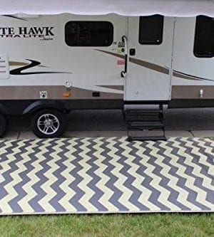 Rv Mat Patio Rug Chevron Pattern 9x12 TanCharcoal 0 300x333