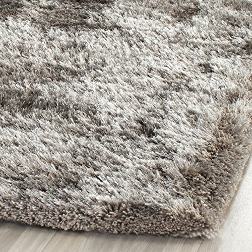Safavieh South Beach Shag Collection SBS562B Handmade Silver Square Area Rug 6 Feet Square 6 Square 0 0