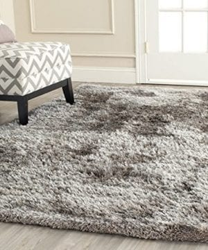 Safavieh South Beach Shag Collection SBS562B Handmade Silver Square Area Rug 6 Feet Square 6 Square 0 300x360