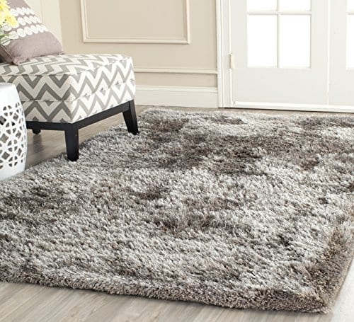 Safavieh South Beach Shag Collection SBS562B Handmade Silver Square Area Rug 6 Feet Square 6 Square 0