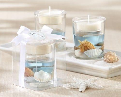 Seashell Gel Tealight Holder With Palm Wax 0