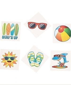 Summer Beach Luau Party Temporary Tattoo Favors 72 Ct 0 300x360