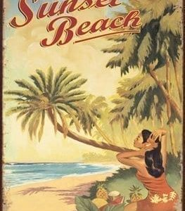 Sunset Beach Metal Sign Surfing And Tropical Decor Wall Accent 0 263x300