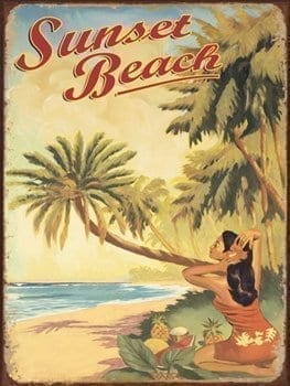 Sunset Beach Metal Sign Surfing And Tropical Decor Wall Accent 0
