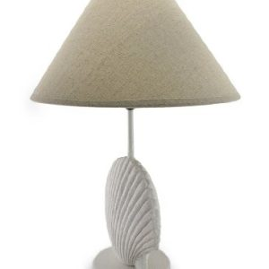 Textured White Scallop Shell Style Lamp WFabric Shade 0 0 300x300