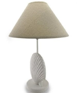 Textured White Scallop Shell Style Lamp WFabric Shade 0 0 300x360
