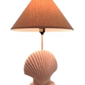 Textured White Scallop Shell Style Lamp WFabric Shade 0 300x300