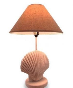 Textured-White-Scallop-Shell-Style-Lamp-wFabric-Shade-0-300x360 200+ Coastal Themed Lamps