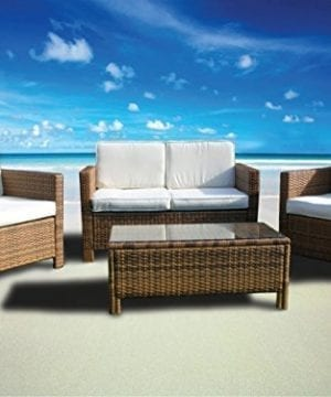 The Miami Beach Collection 4 Pc Outdoor Rattan Wicker Sofa Sectional Patio Furniture Set Choice Of Set Cushion Color 0 0 300x360