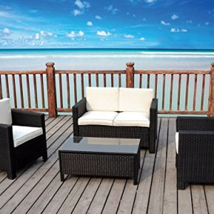 The Miami Beach Collection 4 Pc Outdoor Rattan Wicker Sofa Sectional Patio Furniture Set Choice Of Set Cushion Color 0 1 300x300