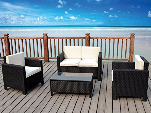 The Miami Beach Collection 4 Pc Outdoor Rattan Wicker Sofa Sectional Patio Furniture Set Choice Of Set Cushion Color 0 1