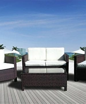 The Miami Beach Collection 4 Pc Outdoor Rattan Wicker Sofa Sectional Patio Furniture Set Choice Of Set Cushion Color 0 300x360