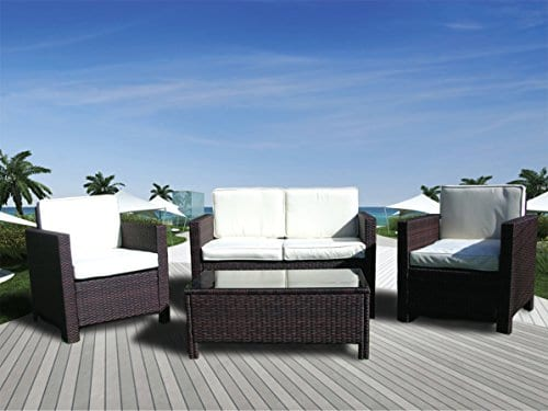 The Miami Beach Collection 4 Pc Outdoor Rattan Wicker Sofa Sectional Patio Furniture Set Choice Of Set Cushion Color 0