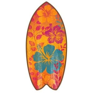 Tropical Hibiscus Mini Surfboard Weathered Beach Home Dcor Accent 11 Inches 0 300x300
