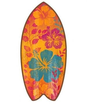 Tropical Hibiscus Mini Surfboard Weathered Beach Home Dcor Accent 11 Inches 0 300x360