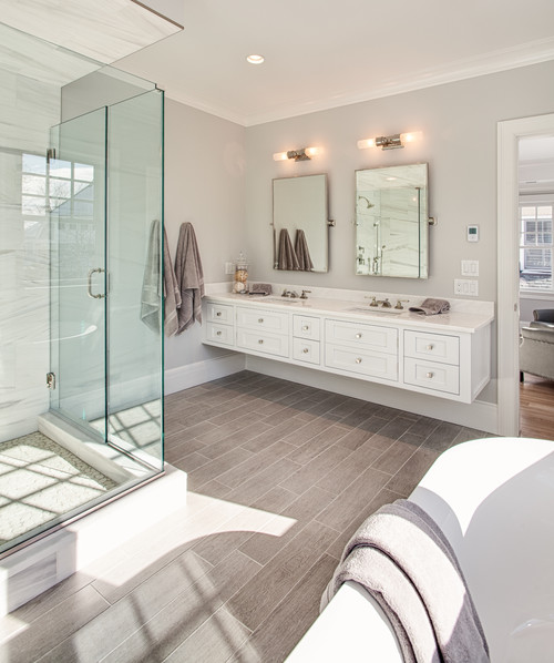 12-modern-design-large-bathroom-with-wood-floors 100+ Best Beach Bathroom Decorations 2020