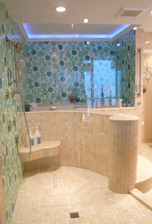 14-beach-shower-with-teal-tile-wall 100+ Best Beach Bathroom Decorations 2020