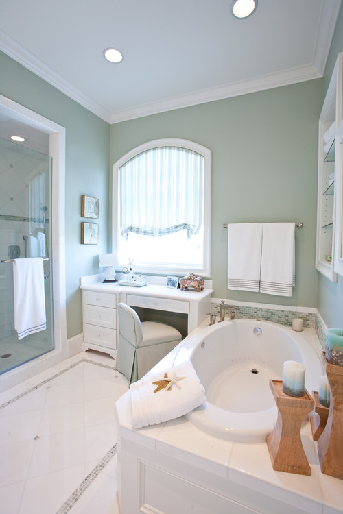 9-clean-coastal-bathroom 100+ Beach Bathroom Decorations