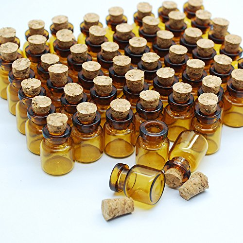06ml Dark Brown Cute Strong Miniature Glass Bottle With Corks Tiny Glass Bottles Small Bottles Great For Jewelry Making Altered Art Miniature Art Etc 0 1