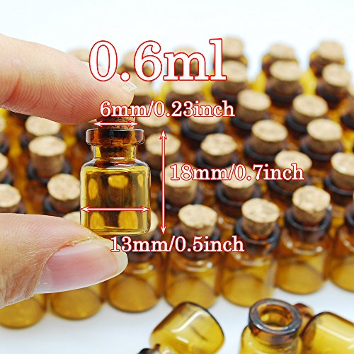 06ml Dark Brown Cute Strong Miniature Glass Bottle With Corks Tiny Glass Bottles Small Bottles Great For Jewelry Making Altered Art Miniature Art Etc 0 2