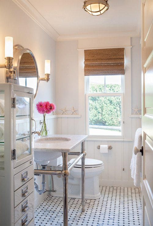 8-white-accents 50+ Beach Cottage Bathroom Ideas