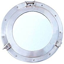 Brushed-Nickel-Decorative-Ship-Porthole-Mirror 100+ Coastal Mirrors and Beach Mirrors