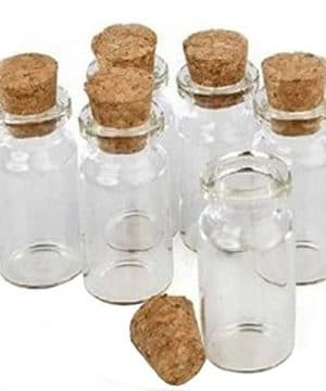 LEFV Small Bottles Transparent Mini Glass Jars With Cork Stoppers Top Message Weddings Wish Jewelry Pendant Charms Kit Party Favors Pack Of 12 0 300x360