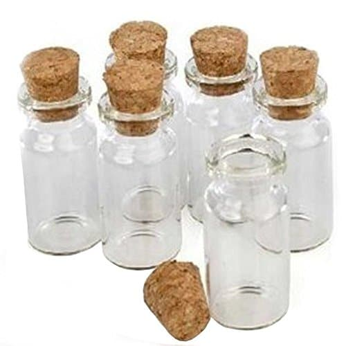 LEFV Small Bottles Transparent Mini Glass Jars With Cork Stoppers Top Message Weddings Wish Jewelry Pendant Charms Kit Party Favors Pack Of 12 0