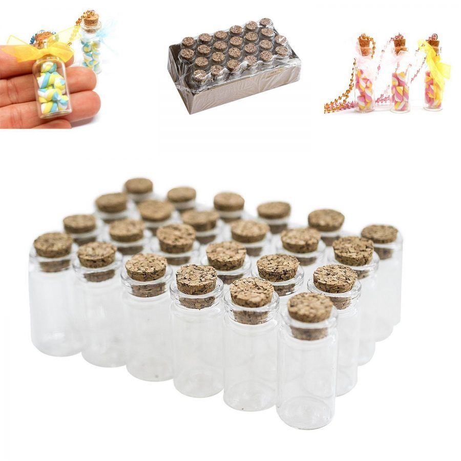 Mini-Clear-Glass-Jars-Bottles-with-Cork-Stoppers-24 Large & Small Glass Bottles With Cork Toppers