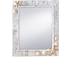 Prinz-Sand-Piper-Mirror-with-Resin-Border-and-Seashells-and-Starfish-Accents 100+ Coastal Mirrors and Beach Mirrors