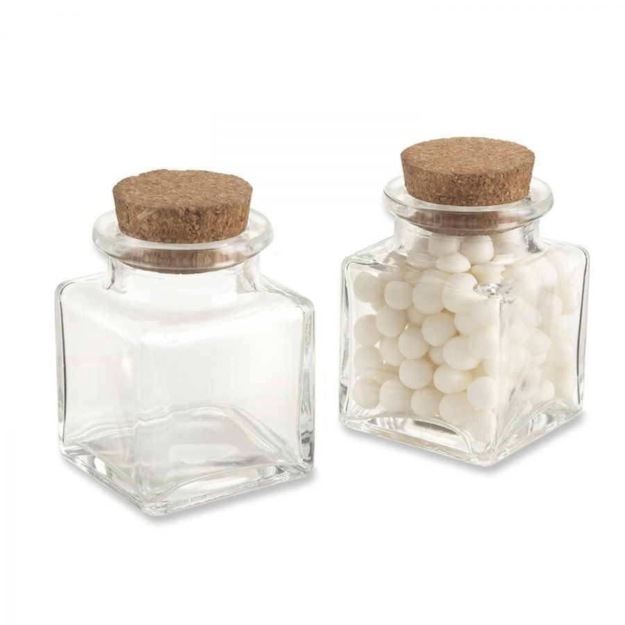 kate-aspen-square-glass-favor-jars-set-of-12 Large & Small Glass Bottles With Cork Toppers