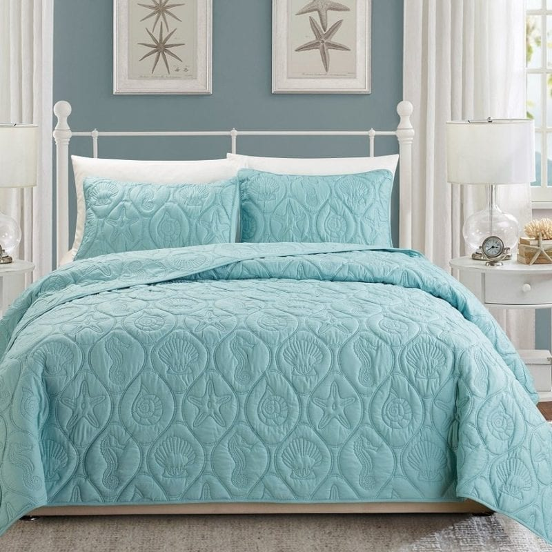 3-Piece-Tropical-Coast-Seashell-Beach-KING-Bedspread-Spa-Blue-Coverlet-Embossed-Bed-Cover-800x800 Coastal Bedding Sets and Beach Bedding Sets