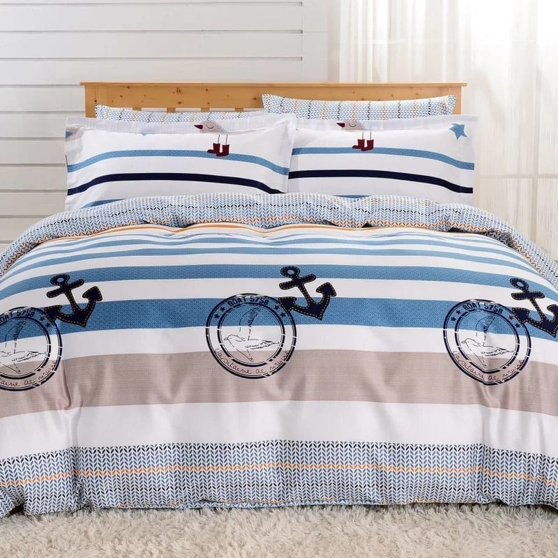 6-piece-queen-nautical-duvet-cover-set Coastal Bedding Sets and Beach Bedding Sets