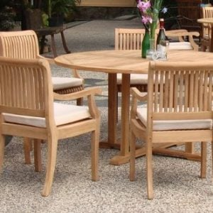 7 Pc Grade A Teak Wood Dining Set 60 Round Table And 6 Giva Arm Captain Chairs WFDSGV6 0 0 300x300