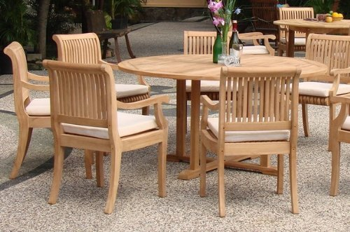 7 Pc Grade A Teak Wood Dining Set 60 Round Table And 6 Giva Arm Captain Chairs WFDSGV6 0 0
