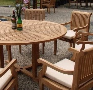 7 Pc Grade A Teak Wood Dining Set 60 Round Table And 6 Giva Arm Captain Chairs WFDSGV6 0 300x293