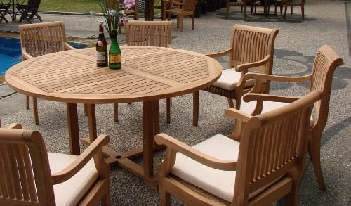 7 Pc Grade A Teak Wood Dining Set 60 Round Table And 6 Giva Arm Captain Chairs WFDSGV6 0