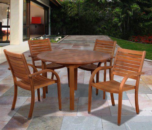 Amazonia Arizona 5 Piece Eucalyptus Round Dining Set 0 0