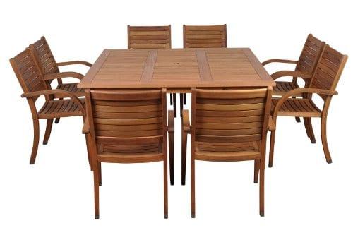 Amazonia Arizona 9 Piece Eucalyptus Square Dining Set 0