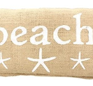 BEACH French Country Burlap Accent Pillow White Print With Starfish 6 In X 12 In 0 300x276
