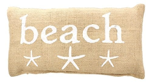 BEACH-French-Country-Burlap-Accent-Pillow-White-Print-with-Starfish-6-in-x-12-in-0 Nautical Pillows and Nautical Throw Pillows