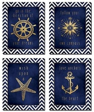 Beautiful Gold And Blue Chevron Inspirational Nautical Prints 0 300x360