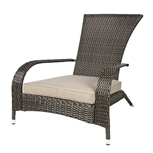 Best ChoiceProducts Wicker Adirondack Chair Patio Porch Deck Furniture Outdoor All Weather Proof 0