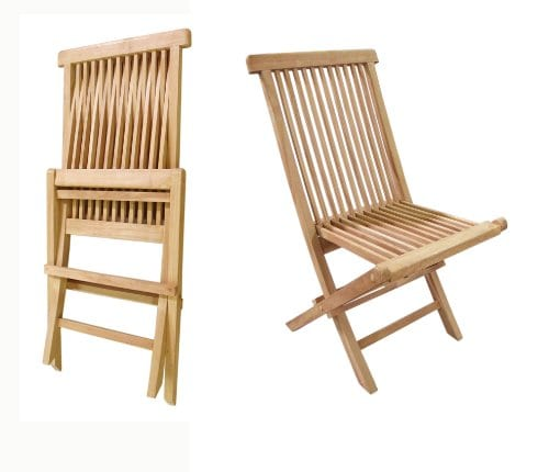D ART COLLECTION Teak Crestwood Folding Chair Set Of 2 0