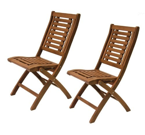 Folding Eucalyptus Side Chair Fully Assembled 2 Pack 0