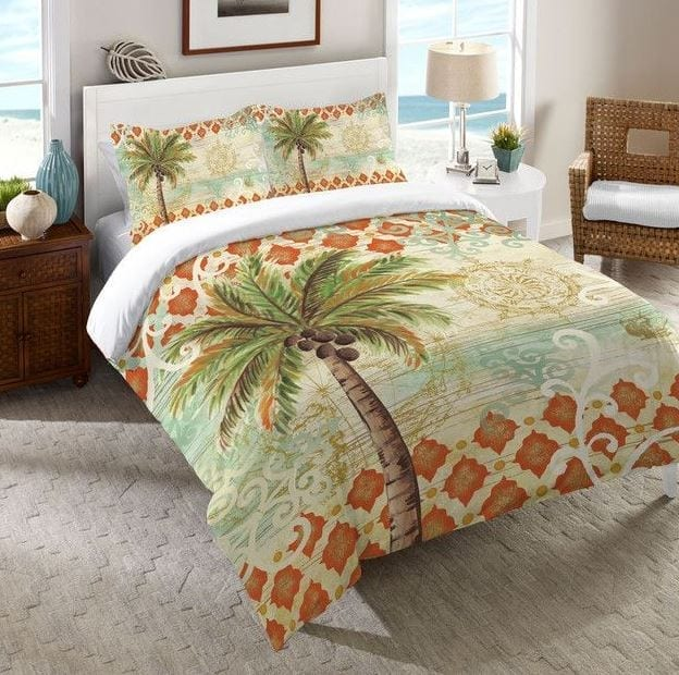 Laurel-Home-Spice-Palm-Tree-Comforter Coastal Bedding Sets and Beach Bedding Sets