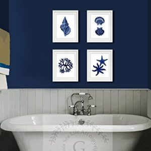 Navy Blue Beach Wall Art Decor Set Of 4 Unframed Prints Coastal Home Decor 0 0 300x300