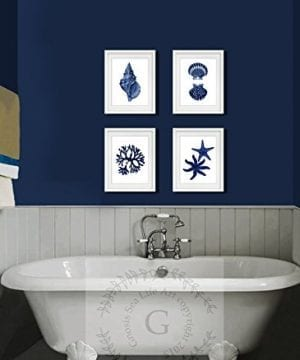 Navy Blue Beach Wall Art Decor Set Of 4 Unframed Prints Coastal Home Decor 0 0 300x360