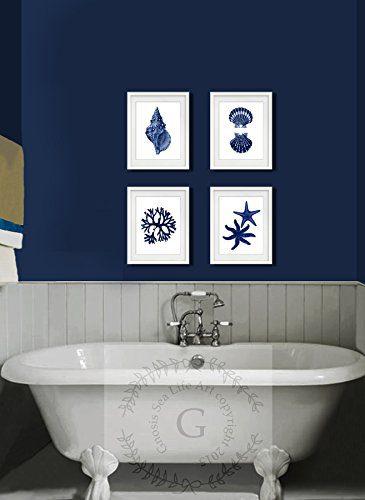 Navy Blue Beach Wall Art Decor Set Of 4 Unframed Prints Coastal Home Decor 0 0